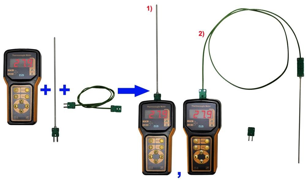 Пример использования комплекта измерителя температуры портативного ИТ-8-К, соединительного кабеля СК-1 и датчика К1-ВП